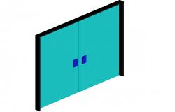3d view of double door design view, rectangular door handle dwg file