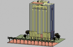 3d view of high rise building dwg file