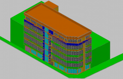 3d view of office building dwg file