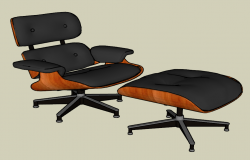 3d view of office chair and stool skp file
