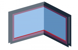 3d view of window for corner with frame view dwg file