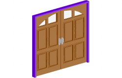 3d view of wooden double door design