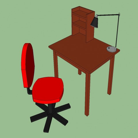 3d bank office desk with revolving chair cad drawing details skp file