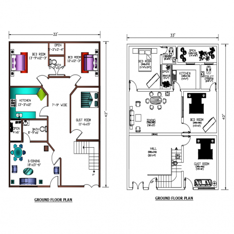 3d design of ground floor layout plan details of house dwg file