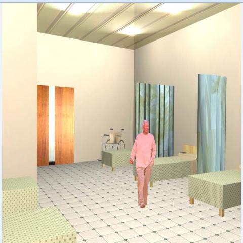 3d interior details of hospital general ward dwg file