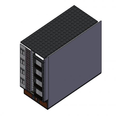 3D of small apartment block design dwg file