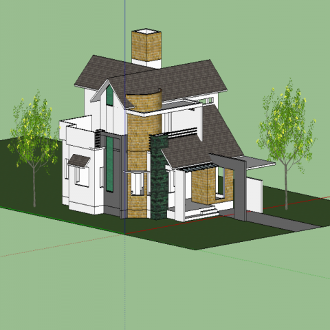 3d side view of multi-story modern villa design skp file