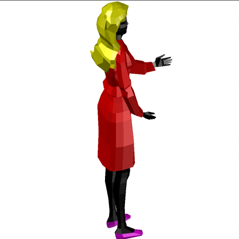 3d Standing lady character cad block model design dwg file