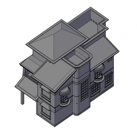 3d view of Detached house design dwg file