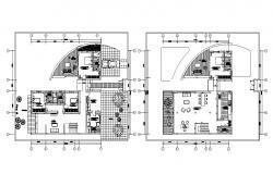 4 BHK Duplex House Furniture Layout Plan