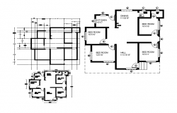 4 bhk house plan cad files