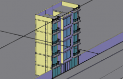4 flooring residential 3d building dwg file