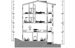 4 storey Apartment drawing in AutoCAD