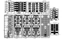 5 Storey Residential Apartment 12mtr x 31.59mtr with different section and elevation in autocad