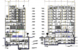 5 stars hotel section plan autocad file