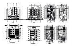 5 storey hotel building 10.90mtr x 18.25mtr plan in dwg file