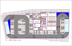 65 car parking basement view for bank head quarter dwg file
