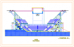 Cross section elevation drawing design of Sport center drawing