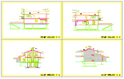 Section drawing of house design with roof design drawing
