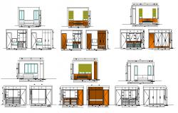 BED AND WARDROBE DESIGNS ELEVATIONS