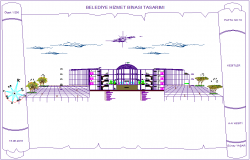 A-A' axis section view of municipal service building dwg file