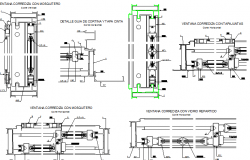A fixed cloths of doors and window installation details dwg file