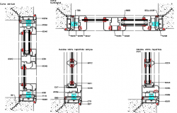 A sliding 2 or 4 leaves of doors and window installation details dwg file