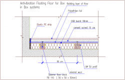Acoustic insulation of  floor construction detail dwg file