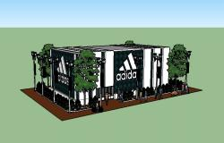 Adidas showroom building 3d exterior model cad drawing details skp file