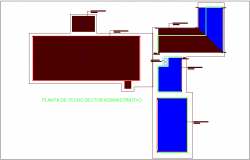 Admin area view with section of department of dairy plant dwg file