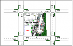 Admin building of government landscape view dwg file