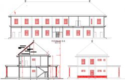 Administration building  elevation design dwg file