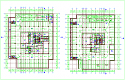 Administration building base plan design view dwg file