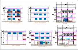 Administration building elevation and section view dwg file