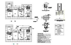 Administration office floor plan and water system installation details dwg file