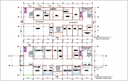 Administrative building of block A ground and first floor plan dwg file