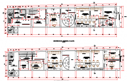 Administrative office ground and first floor layout plan dwg file