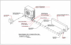 Air conditioning compressor inside machine, wall mounting structure detail dwg file