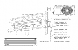 Air conditioning detail CAD blocks structure 2d view layout file