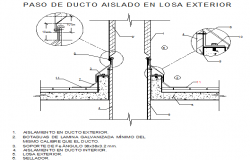 Air conditioning pipe step isolated in exterior sheet duct installation details dwg file