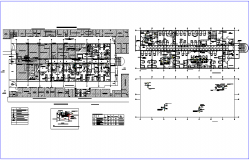 Air conditions system view with floor plan design  of hospital dwg file
