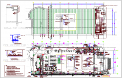 Air system pipe layout plan view of building dwg file