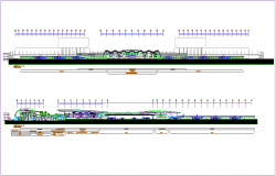 Airport design view with its section architectural view dwg file