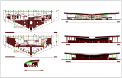 Airport design view with plan,elevation and sectional view dwg file