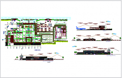 Airport plan,elevation and sectional view with airplane view dwg file