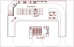 Airport plan with fuel and fire station dwg file