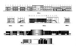Airport terminal building all sided elevation and section details dwg file
