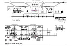 Airport terminal section and first floor plan and general plan details dwg file