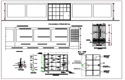 Albenirleria wall construction details with elevation and section view dwg file
