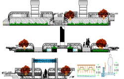 All Sided Elevation of Ecological Park Architecture Layout dwg file